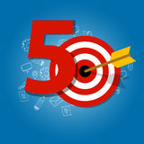 Fifty years target in business calendar list of achievement. Vector Royalty Free Stock Images