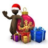 Figürchen der Illustration 3D, Browns mit Weihnachtshut, Flitter und p Stockfotos