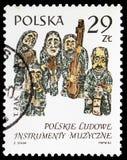 Figürchen durch Tadeusz Zak, Musikinstrumente, polnisches (1) serie, circa 1984 lizenzfreie stockbilder