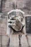 Figürchen eines Ritters auf der Wand von St. Lorenz u. von x28; St Lawrence u. x29; c Lizenzfreie Stockfotos