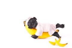 Figürchenaffe, der auf einer Banane schläft Lizenzfreies Stockfoto