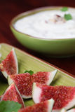 Fig appetizers with nut and honey cheese Stock Images