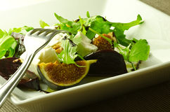 Fig, beetroot, feta and rocket salad Stock Photography