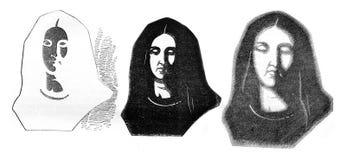 Fig. 1-besnoeiing kaart, Fig. 2-première effect, Fig. 3 - Tweede effect, vin Stock Afbeelding