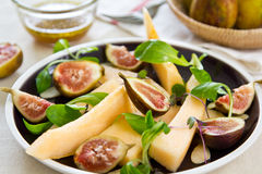 Fig with Cantaloupe and almond slice salad Royalty Free Stock Images