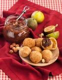 Fig chutney with hazelnut. Fig jam with hazelnuts and choux pastry Stock Photo
