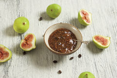 Fig and coffee marmalade. Food & Dishes for Restaurants, Cuisine of the peoples of the world, Healthy Recipes Stock Photo
