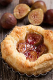 Fig dessert. Baked Pastry Fig dessert with fresh figs Royalty Free Stock Image