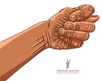 Fig fico hand sign, African ethnicity, detailed vector illustrat Stock Photography