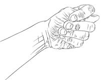 Fig fico hand sign, detailed black and white lines vector illust Stock Photos