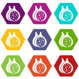 Fig fruit icon set color hexahedron. Fig fruit icon set many color hexahedron isolated on white vector illustration Stock Photo