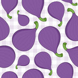 Fig Fruit Seamless Pattern on Tablecloth. A seamless pattern with fig fruits on a checkered picnic tablecloth background. Useful also as design element for Royalty Free Stock Images