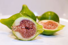 Fig Fruits Cut in Half Royalty Free Stock Photo
