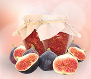 Fig fruits and fig jam Stock Images