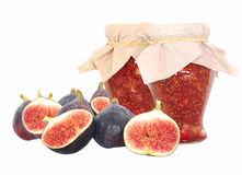 Fig fruits and fig jam isolated Stock Photography
