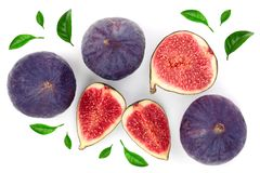 Fig fruits with leaves isolated on white background. Top view. Flat lay pattern royalty free stock photos