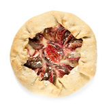 Fig galette with cream cheese and honey isolated on white Stock Image
