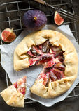Fig galette with cream cheese and honey Royalty Free Stock Images