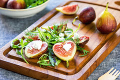 Fig with Goat cheese and Rocket salad Stock Image