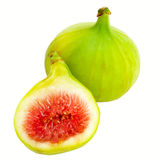 Fig with half. Green Figs isolated on white background Stock Photos