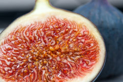 Fig half with seeds macro Royalty Free Stock Photography