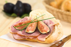 Fig and Ham Sandwich Royalty Free Stock Images