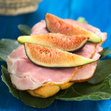 Fig and Ham Sandwich Stock Photography