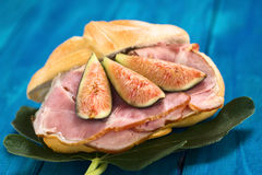 Fig and Ham Sandwich Royalty Free Stock Photos