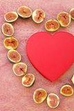 Fig heart and a red heart box Royalty Free Stock Images
