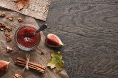 Fig jam background Stock Photos