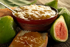 Fig jam on bowl Royalty Free Stock Photos