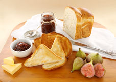 Fig Jam And Bread Stock Photography