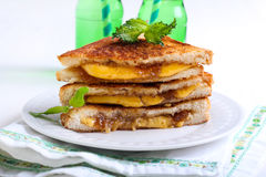 Fig jam and cheese grilled sandwich Royalty Free Stock Photos