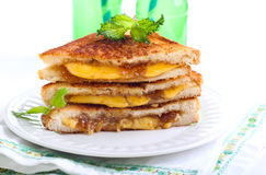 Fig jam and cheese grilled sandwich Stock Photos