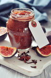 Fig jam in a glass jar Stock Photos