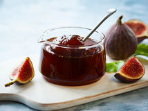 Fig jam. In a jar stock image