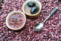 Fig jam and rose petals Stock Image