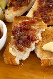 Fig Jam Toast Stock Photography