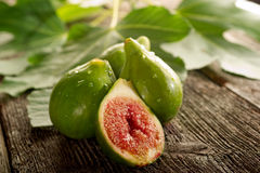 Fig with leaf Stock Images