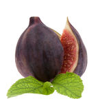 Fig with leaf Royalty Free Stock Image