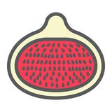 Fig line icon, fruit and diet, vector graphics. A colorful linear pattern on a white background, eps 10 Royalty Free Stock Photos
