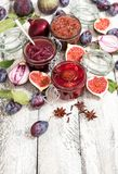 Fig marmalade plum jam onion chutney Food background. Fig marmalade, plum jam, red onion chutney. Food background Royalty Free Stock Photo