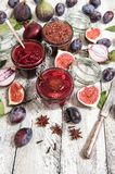 Fig marmalade plum jam red onion confiture Preserving ingredient. Fig marmalade, plum jam, red onion confiture. Food background. Preserving ingredients Royalty Free Stock Photos