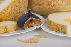 Fig and Melon. Ripe Fig and Melon, closeup Royalty Free Stock Image
