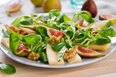 Fig,Melon and walnut salad Stock Image