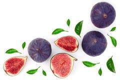Fig owoc z liśćmi odizolowywającymi na białym tle z kopii przestrzenią dla twój teksta Odgórny widok Mieszkanie nieatutowy wzór zdjęcie royalty free