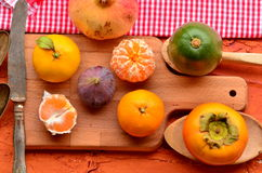 Fig, persimmon, pomegranate, avocado and mandarins (tangerines) on rough background. Still life theme. Royalty Free Stock Photo