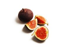 Fig pieces on white background Royalty Free Stock Image