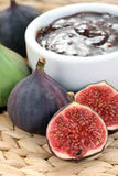 Fig preserved. Bowl of fig preserved and sme fresh figs Stock Photo