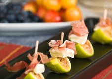 Fig, prosciutto, and Brie Royalty Free Stock Photo
